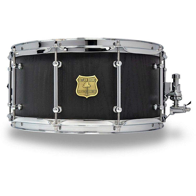 OUTLAW DRUMSRed Oak Stave Snare Drum with Chrome Hardware14 x 6.5 in.Black Satin