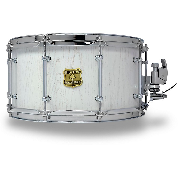 OUTLAW DRUMS Red Oak Stave Snare Drum with Chrome Hardware 14 x 7 in. White Wash