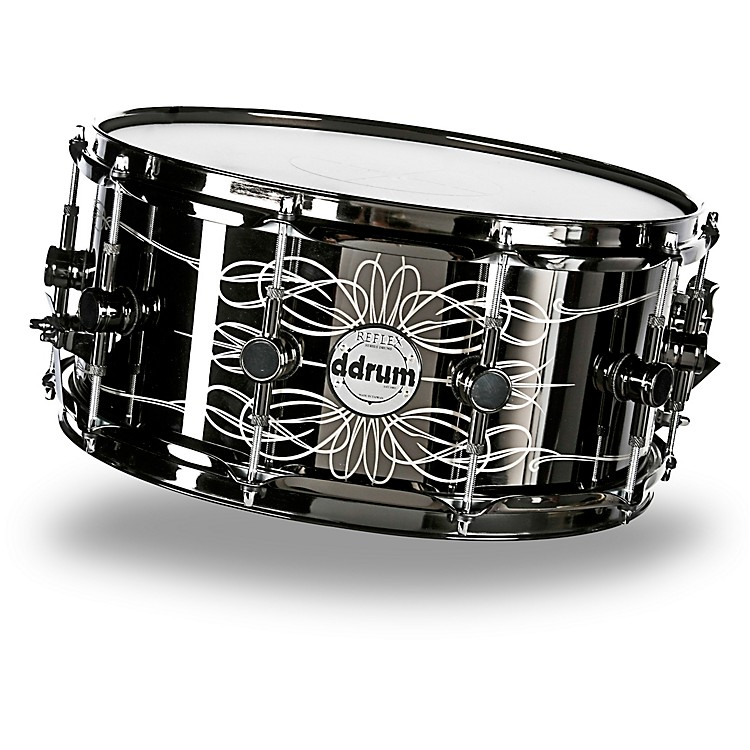 ddrum Reflex Tattooed Lady Engraved Black Steel Snare Drum 14 x 6.5 in.
