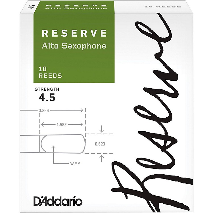 D'Addario Woodwinds Reserve Alto Saxophone Reeds 10 Pack Strength 4.5