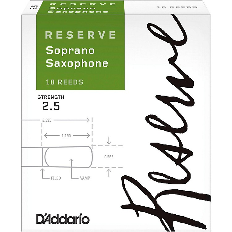 D'Addario Woodwinds Reserve Soprano Saxophone Reeds 10-Pack Strength 2.5