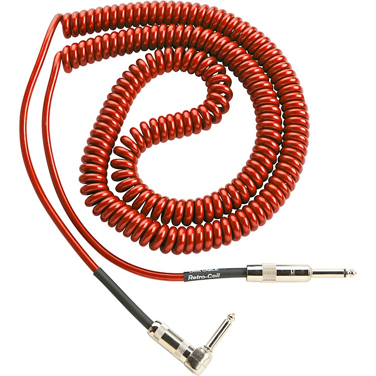 LavaRetro Coil 20 Foot Instrument Cable Straight-Right Angle Assorted ColorsMetallic Red