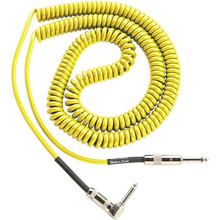 Lava Retro Coil 20 Foot Instrument Cable Straight-Right Angle Assorted Colors Yellow
