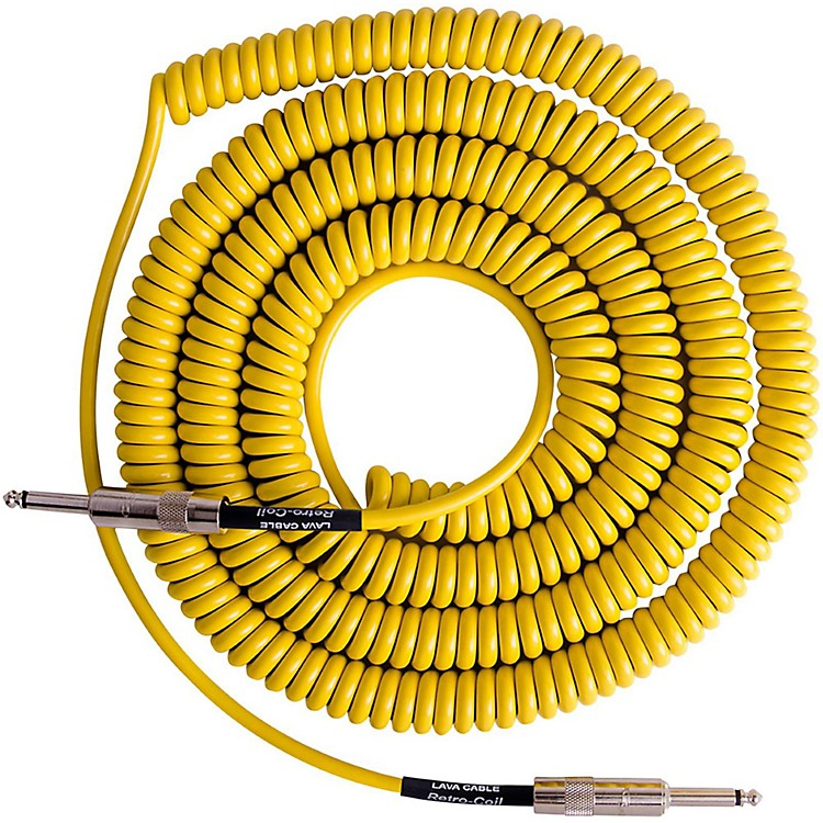 Lava Retro Coil 20 Foot Instrument Cable Straight-Straight Assorted Colors Yellow