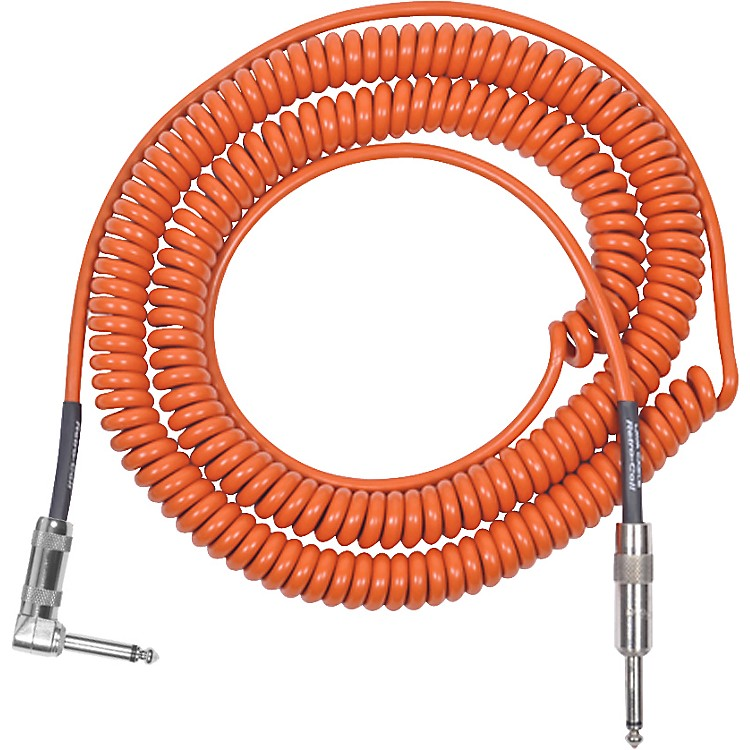 Lava Retro Coil 20 Foot Instrument Cable Straight to Right Angle Orange