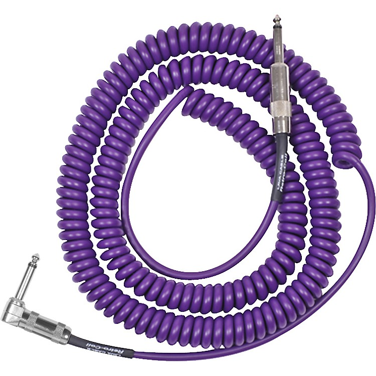 LavaRetro Coil 20 Foot Instrument Cable Straight to Right AnglePurple