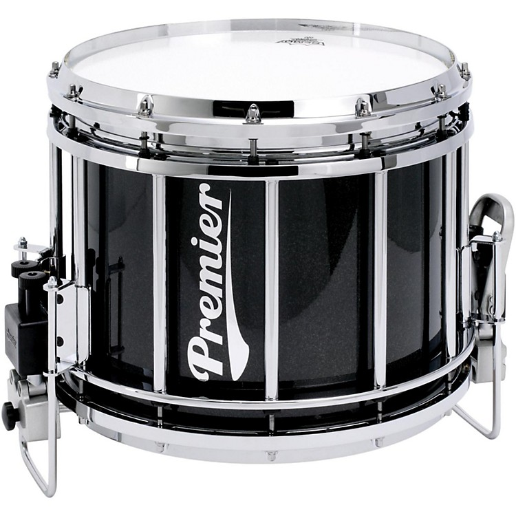 Premier Revolution Series Marching Snare Drum w/Diamond Chrome Hardware 14x12 Inch Ebony Black Lacquer