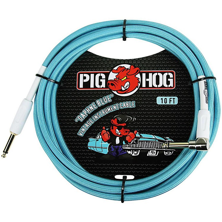 Pig HogRight Angle Instrument Cable10 ft.Daphne Blue