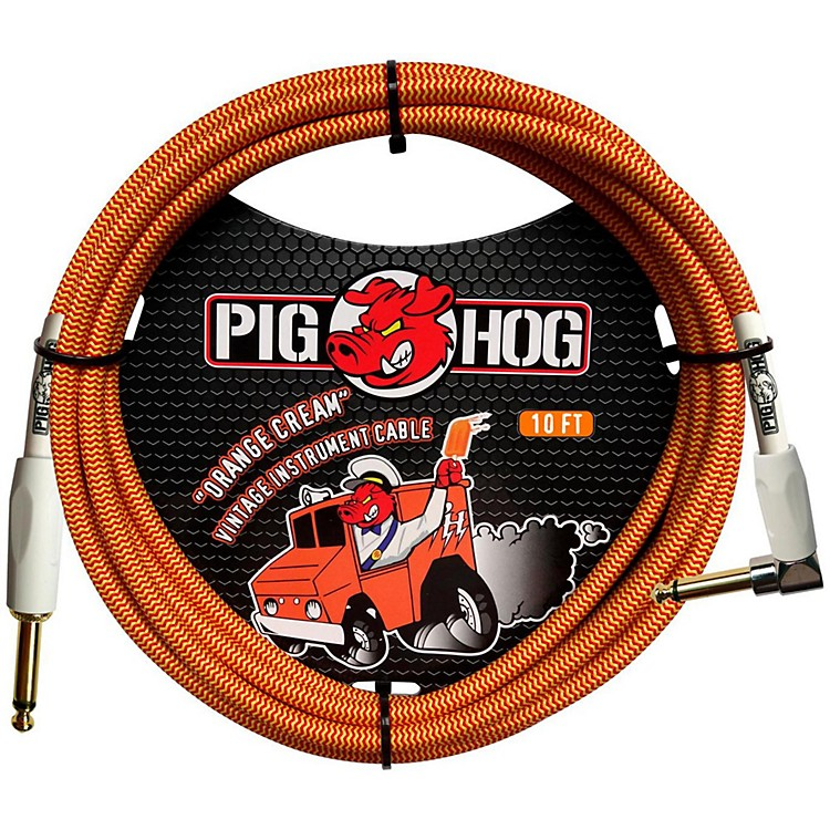 Pig Hog Right Angle Instrument Cable 10 ft. Orange Cream