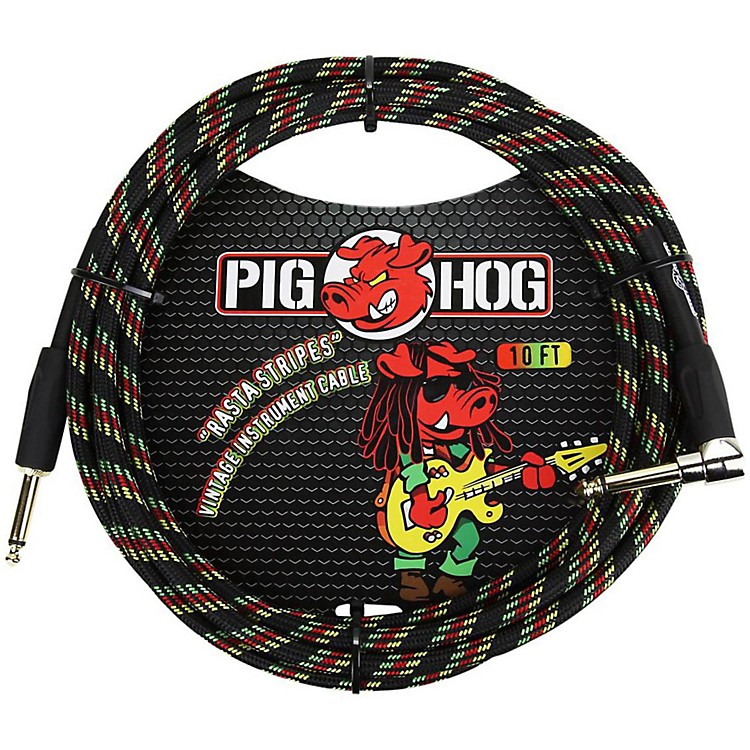Pig Hog Right Angle Instrument Cable 10 ft. Rasta Stripes