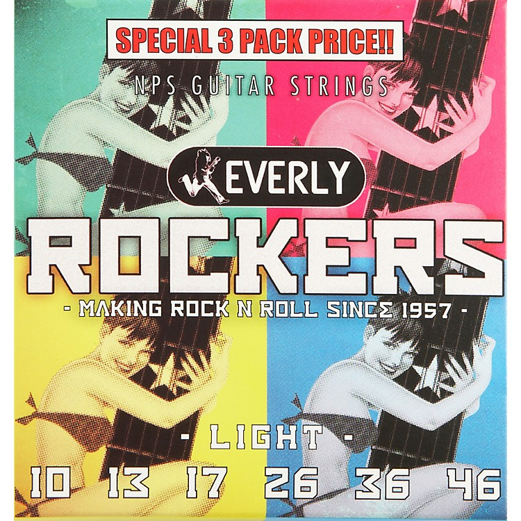 EverlyRockers Electric Guitar Strings Light 3-Pack10-46
