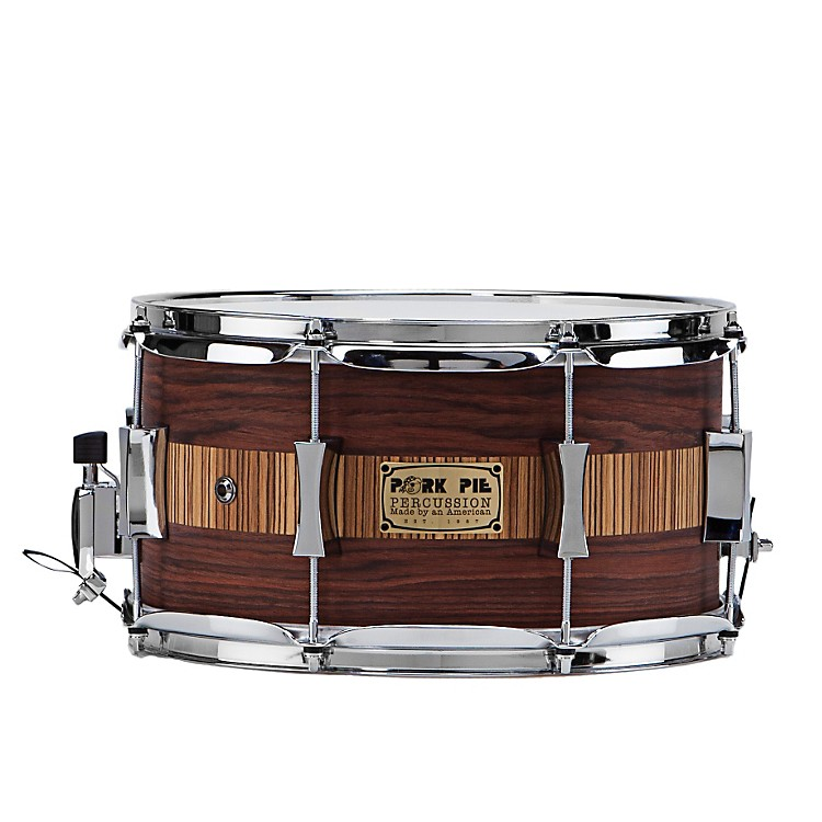 Pork Pie Rosewood Zebra Maple Snare Drum Rosewood Zebra 7x13