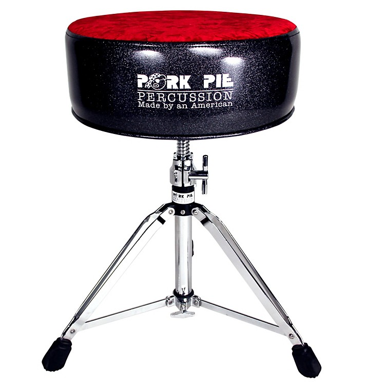 Pork Pie Round Drum Throne Black Sparkle with Red Crush Top