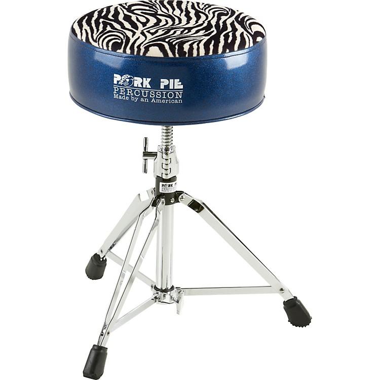 pork pie round drum throne blue with zebra top music123. Black Bedroom Furniture Sets. Home Design Ideas