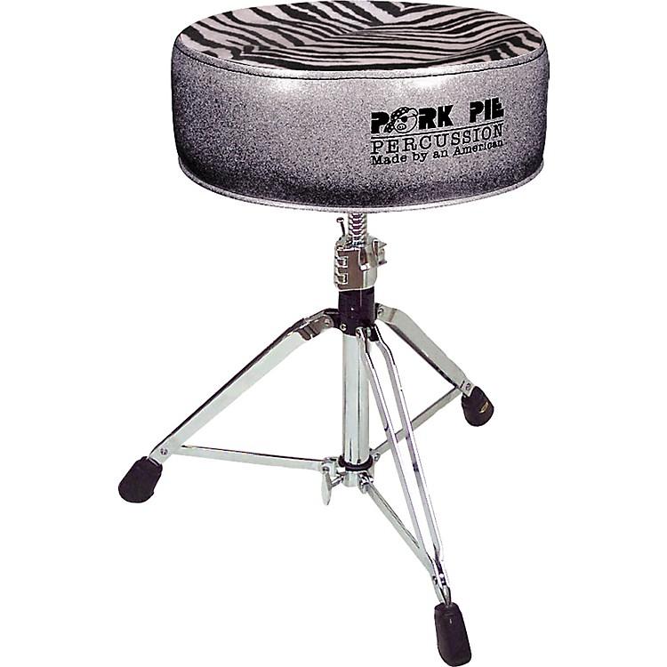 Pork PieRound Drum ThroneCharcoal Glitter with Zebra Top