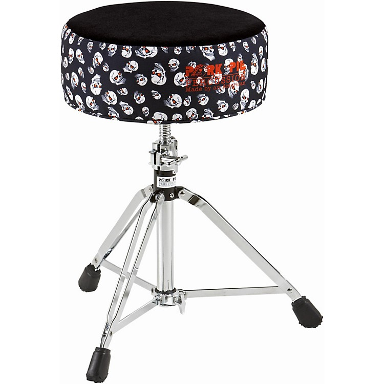 Pork Pie Round Drum Throne Skulls with Black Top