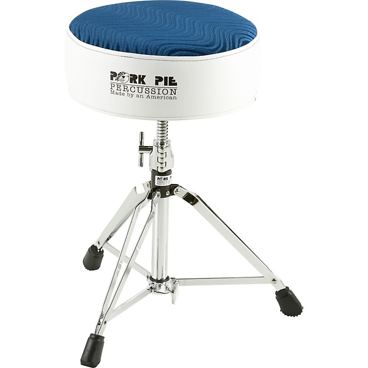Pork Pie Round Drum Throne White with Navy Swirl Top