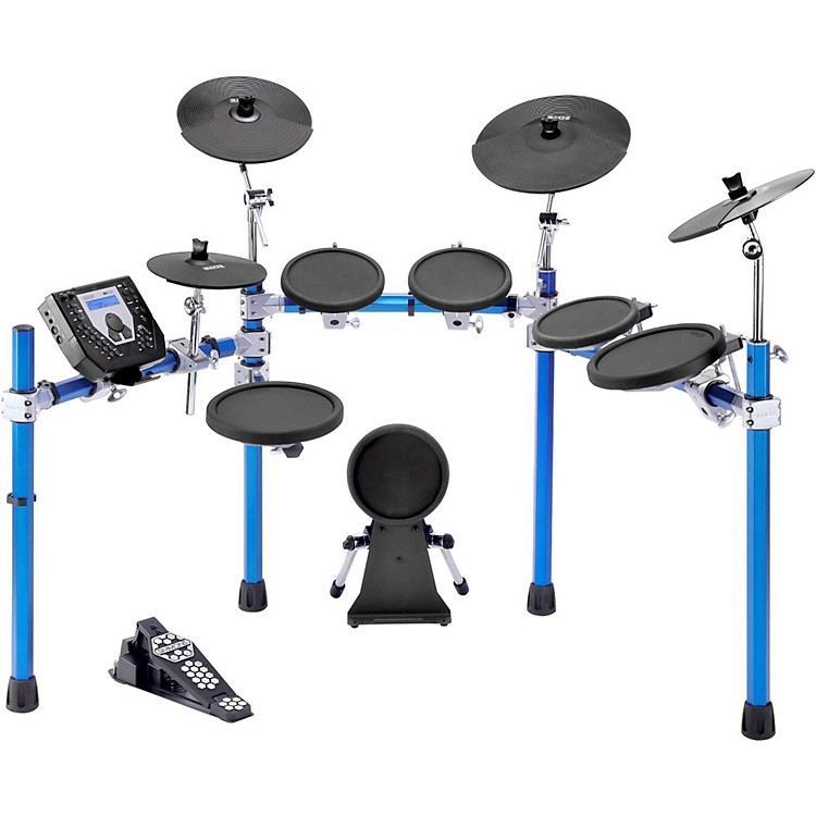 simmons sd1500 electronic drum set with blue metallic rack music123. Black Bedroom Furniture Sets. Home Design Ideas