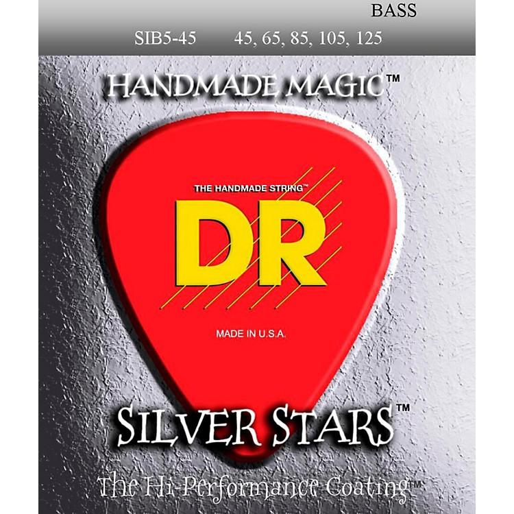 DR StringsSIB-45-125 Silver Stars Coated 5 String Bass Guitar Strings