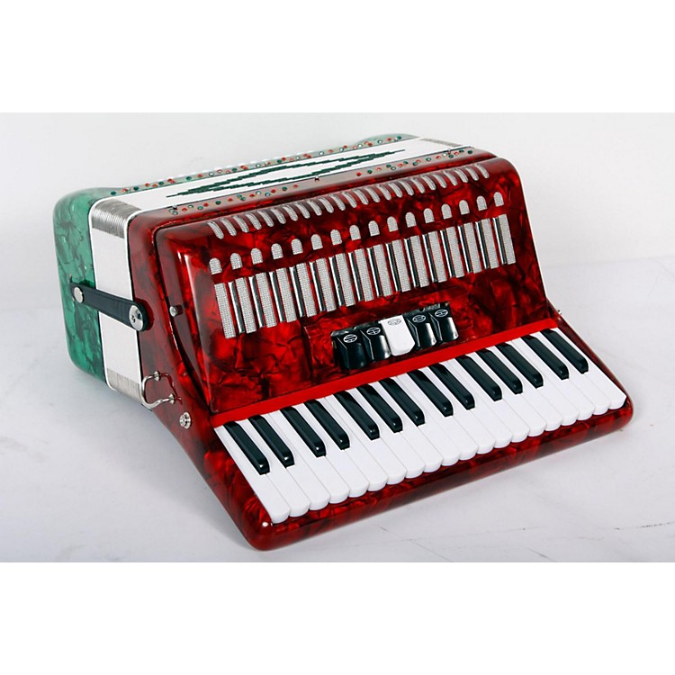 SofiaMari SM-3448 34 Piano 48-Bass Accordion Red and Green Pearl 888365776286