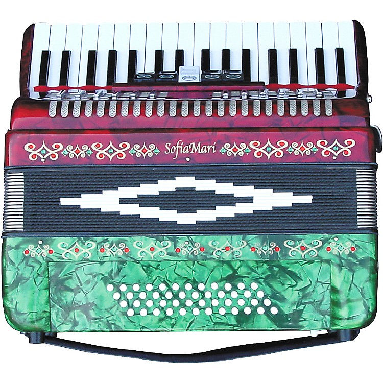 SofiaMari SM-3448 34 Piano 48-Bass Accordion Red and Green Pearl
