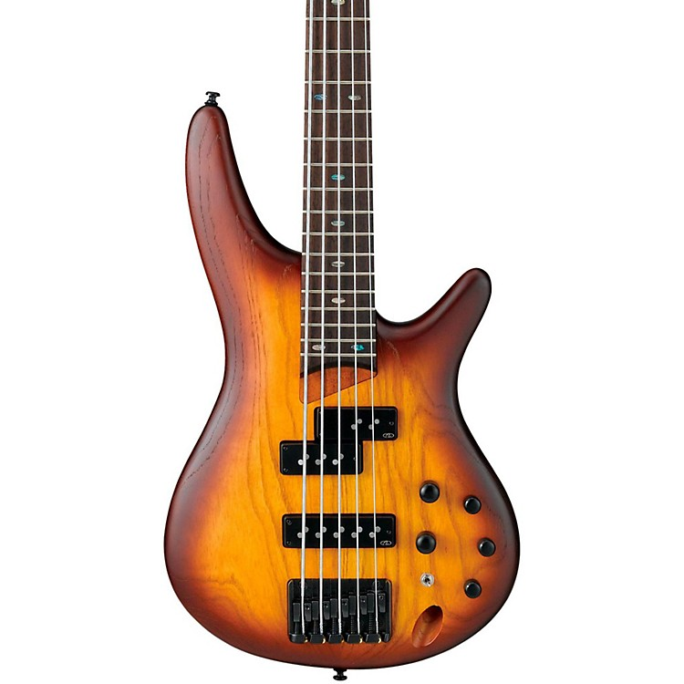 Ibanez SR655 5-String Electric Bass Guitar Flat Brown Burst