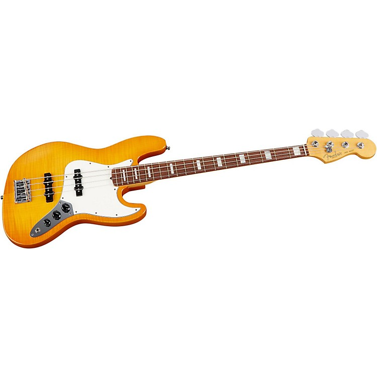 Fender Select Jazz Bass Guitar Amber Burst Rosewood Fingerboard