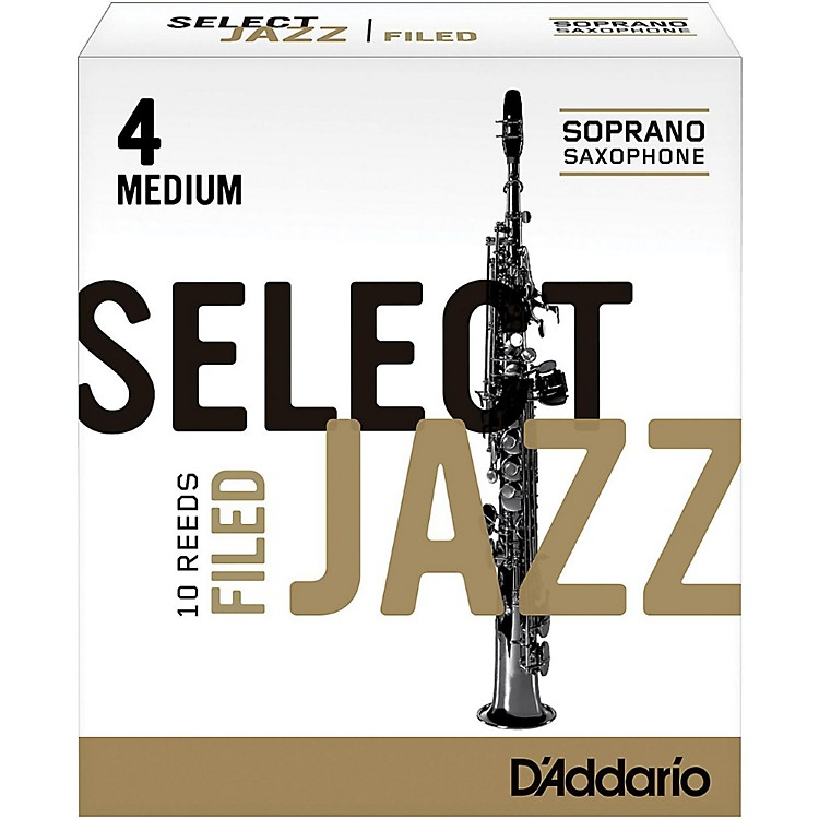 D'Addario Woodwinds Select Jazz Filed Soprano Saxophone Reeds Strength 4 Medium Box of 10