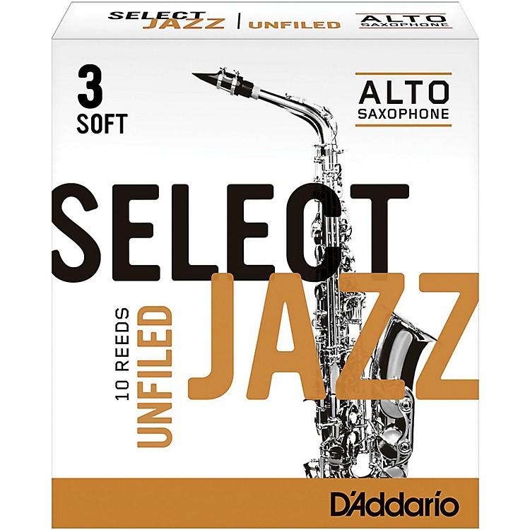 D'Addario Woodwinds Select Jazz Unfiled Alto Saxophone Reeds Strength 3 Soft Box of 10