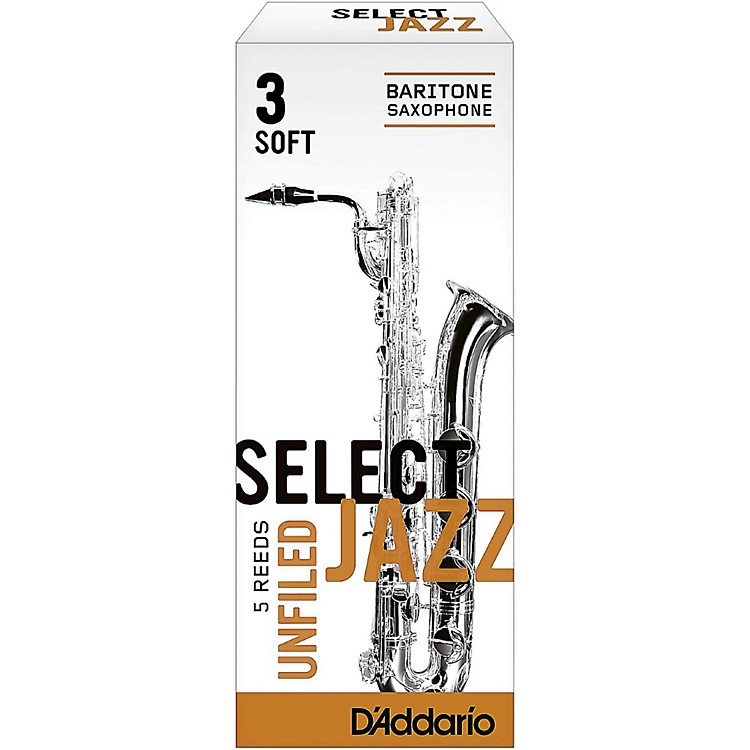 D'Addario Woodwinds Select Jazz Unfiled Baritone Saxophone Reeds Strength 3 Soft Box of 5