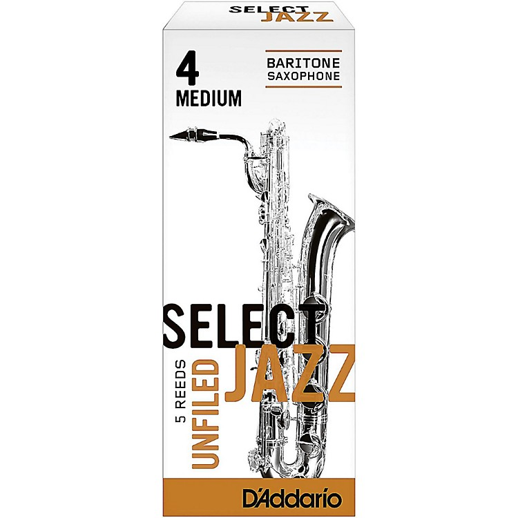 D'Addario Woodwinds Select Jazz Unfiled Baritone Saxophone Reeds Strength 4 Medium Box of 5