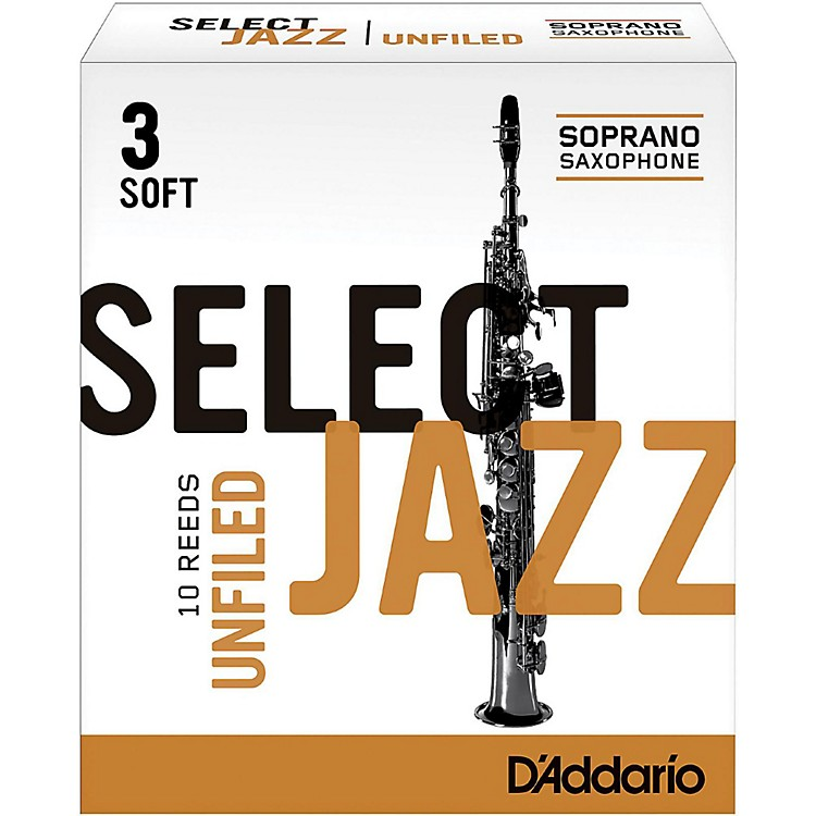 D'Addario WoodwindsSelect Jazz Unfiled Soprano Saxophone ReedsStrength 3 SoftBox of 10