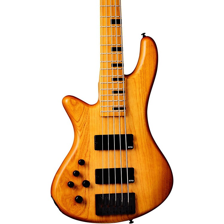 Schecter Guitar Research Session Stiletto-5 5 String Left Handed Electric Bass Guitar Aged Natural Satin