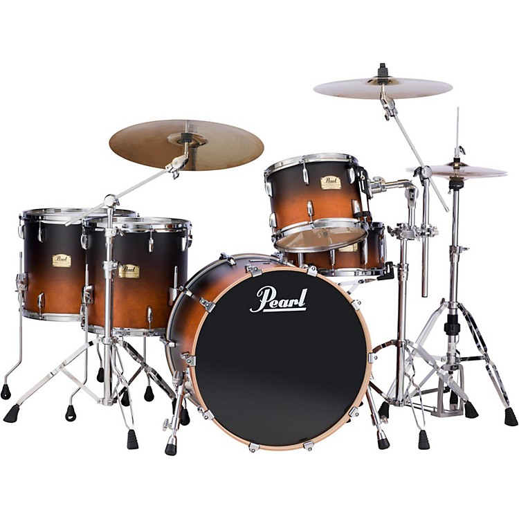 PearlSession Studio Classic 4 Piece Shell Pack with Free 14 Inch Floor TomBlack and Tan