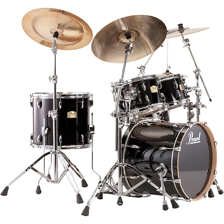 PearlSession Studio Classic 4 Piece Shell Pack with Free 14 Inch Floor TomPiano Black with Chrome Hardware