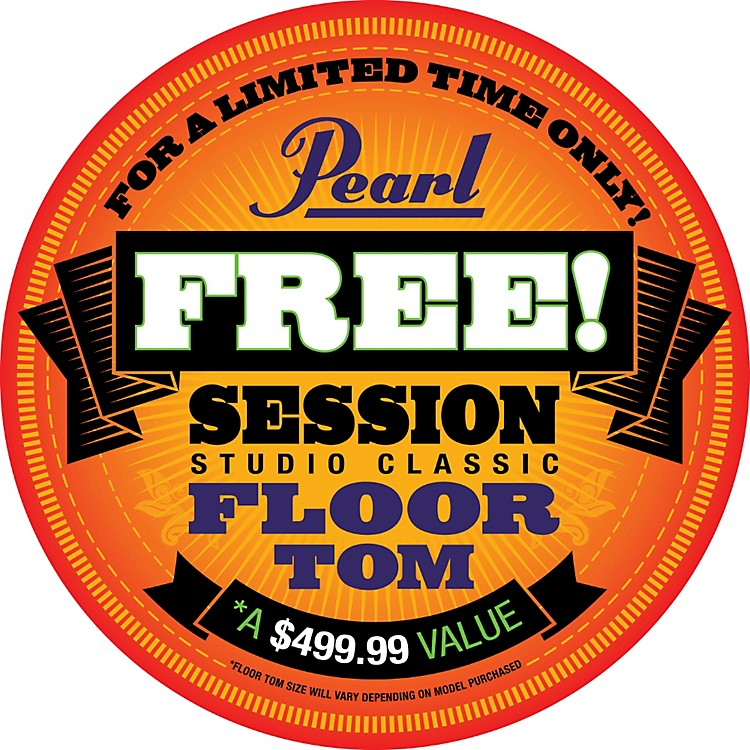 PearlSession Studio Classic 4-Piece Shell Pack with Free 16-Inch Floor TomLacquer Platinum Mist with Chrome Hardware