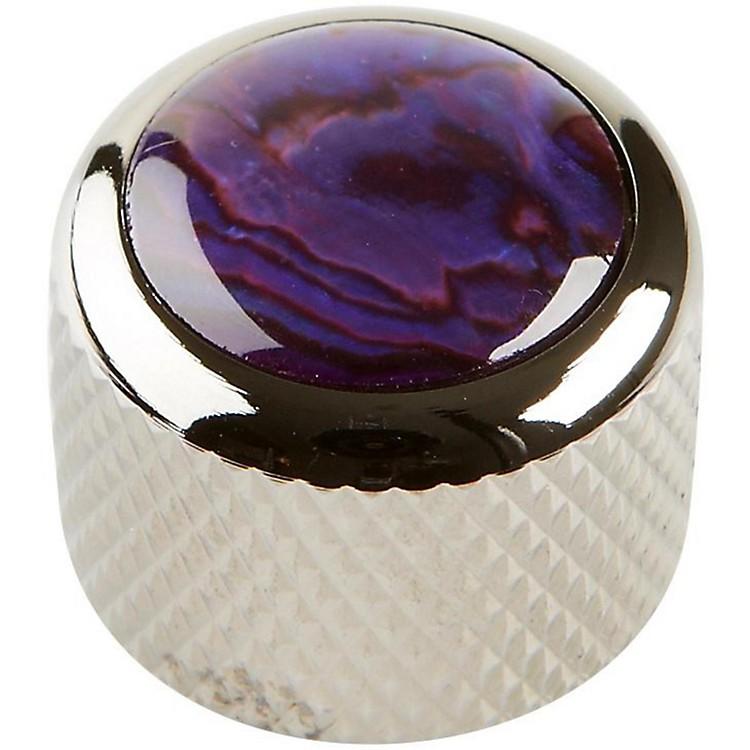 Q PartsShell Dome Knob SingleBlack ChromePurple Abalone
