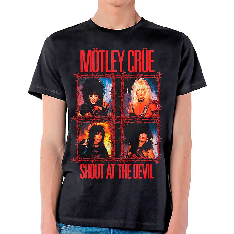 Motley Crue Shout Wire T-Shirt Medium Black