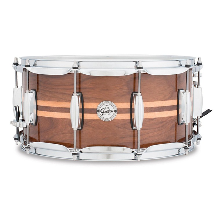 Gretsch Drums Silver Series Walnut Snare Drum with Maple Inlay 14X6.5