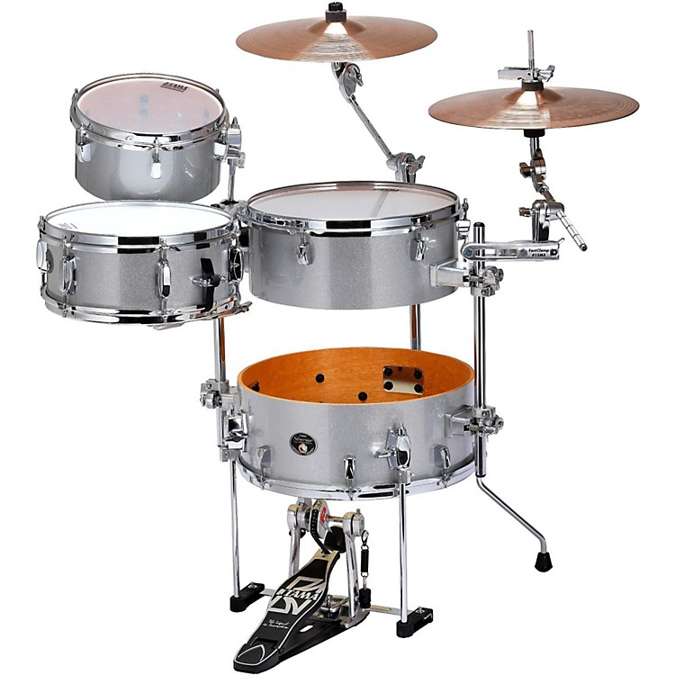 Tama Silverstar Cocktail-Jam 4-Piece Kit with Bass Drum Pedal and EMAD Bass Drum Head White Sparkle