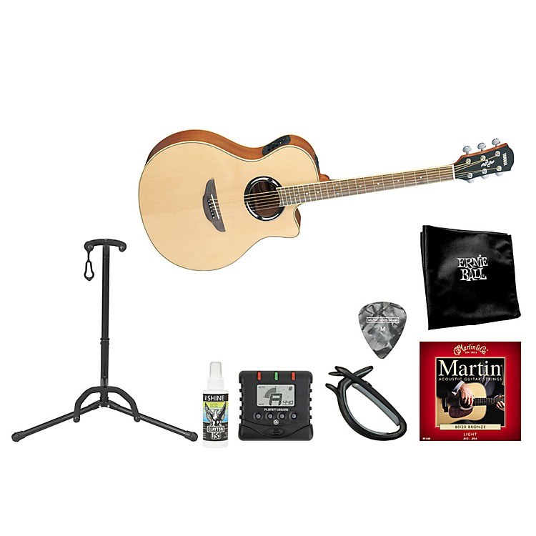 Yamaha Singer/Songwriter Cutaway Steel String Acoustic-Electric Guitar Bundle Natural