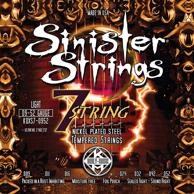 Kerly Music Sinister Strings Nickel Wound Electric Guitar Strings - 7-String Light