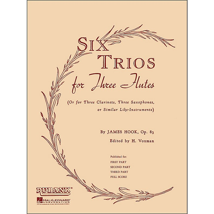 Hal Leonard Six Trios for Three Flutes Third Part Op 83
