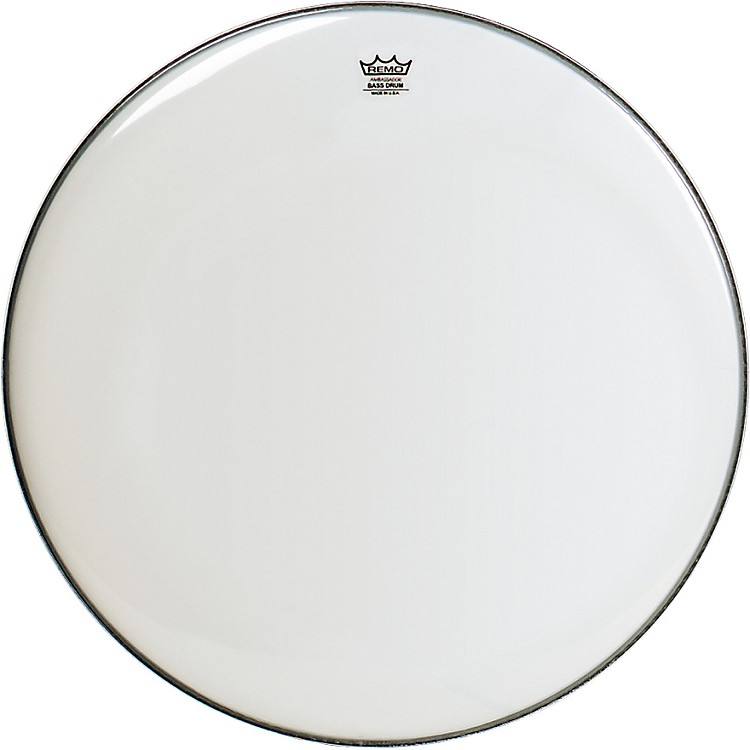 RemoSmooth White Ambassador Bass Drumhead28 in.