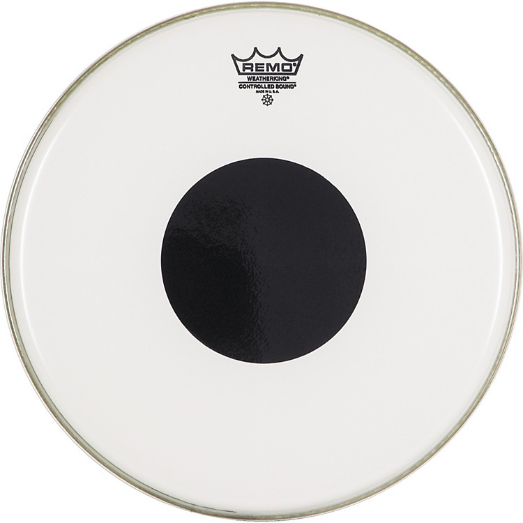 Remo Smooth White Control Sound Top Black Dot 14 in.