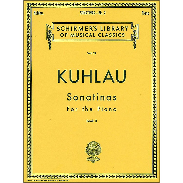 G. Schirmer Sonatinas for The Piano Book 2 By Kuhlau
