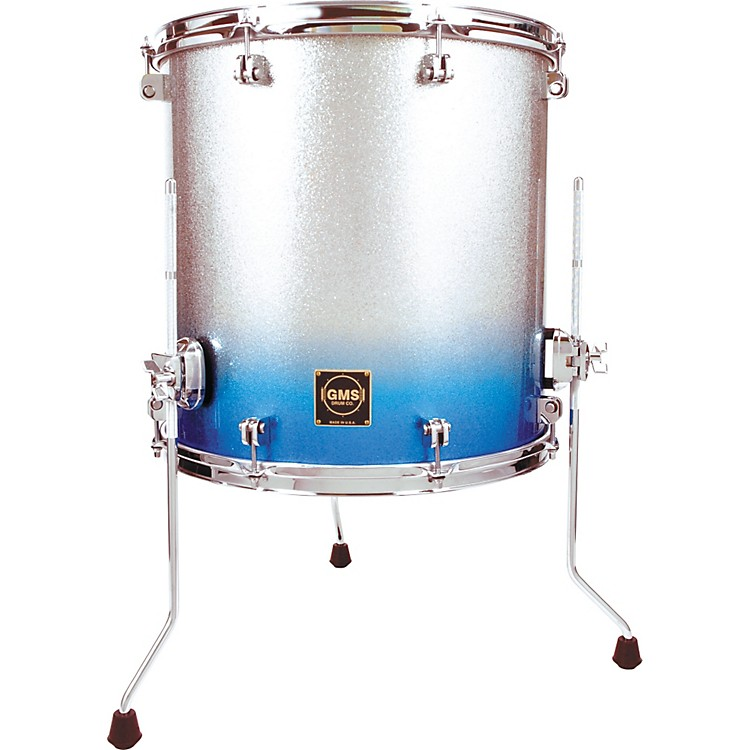 GMS Special Edition Floor Tom 14 x 14 in. Silver/Blue Sparkle Fade