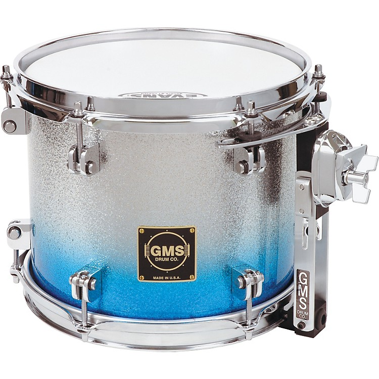 GMS Special Edition Rack Tom 14 x 11 in. Silver/Blue Sparkle Fade
