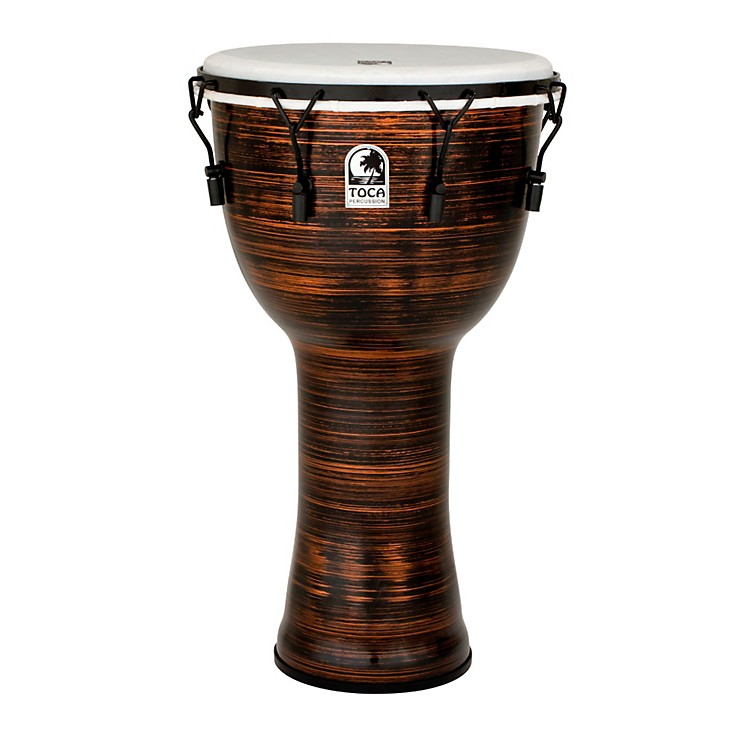 Toca Spun Copper Mechanically Tuned Djembe with Bag 14 in.