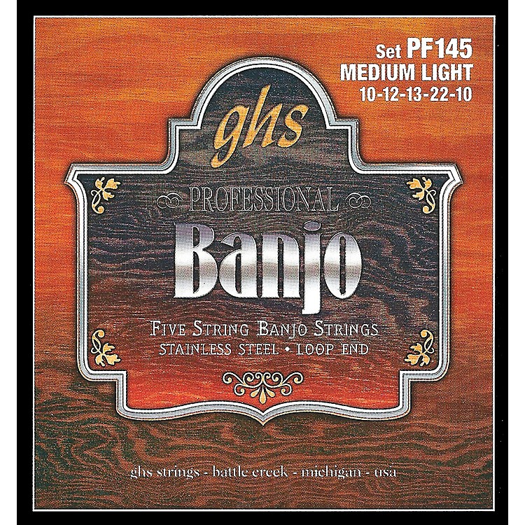 GHS Stainless Steel 5-String Banjo Strings - Medium Light